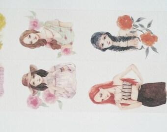 Design Washi tape girl floral fashion