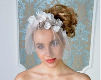 Florence birdcage veil, bridal veil, wedding veil, short veil, blush, blusher veil, tulle birdcage, wedding blusher,birdcage veil brida;
