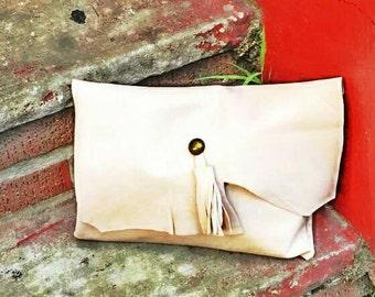 Genuine Leather Cream Clutch