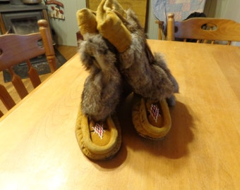 Beaded Mukluks with Fur handmade