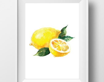 Watercolor Lemon Art, Watercolor Lemon Print, Watercolor Fruit Poster, Fruit Print, Watercolor Kitchen Art, Kitchen Decor, Kitchen Print