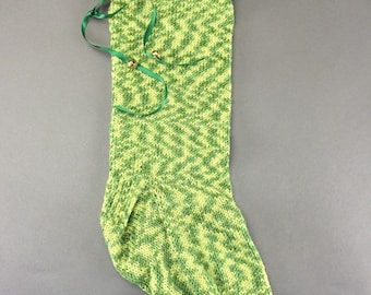 Handknit Christmas stocking bells green