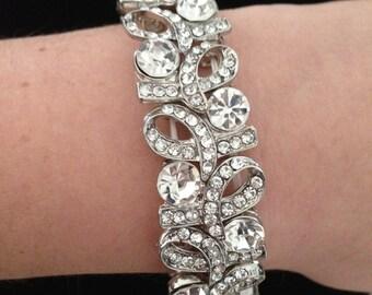 Czech Rhinestones Bridal Bracelet Wedding Bracelet Stretch Bracelet