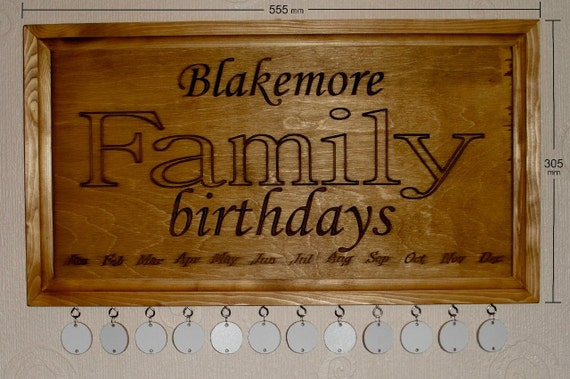 Birthday Calendar Plaque -Personalised