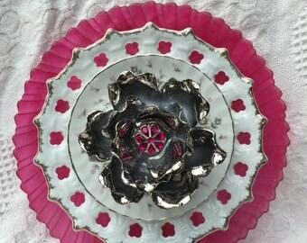 "Vintage Glass Plate Flowers ""Raspberry Sorbet"""