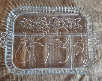Vintage Clear Glass Fruit Relish Serving Tray