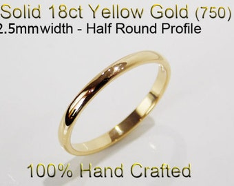 18ct 750 Solid Yellow Gold Ring Wedding Engagement Friendship Half Round Band 2.5mm