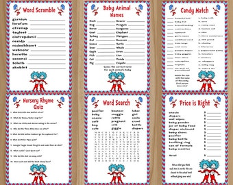 Dr. Seuss Baby Shower Game, Thing 1 Thing 2 Baby Shower Game, Thing 1 Thing 2 Baby Shower, Dr. Seuss Baby Shower, Dr. Seuss Game Bundle