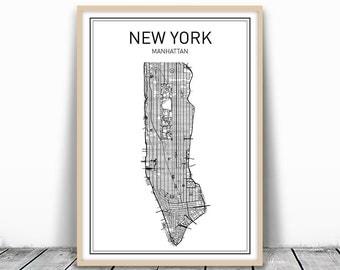 New York Map Print, New York City, Manhattan Print, City Map Print, City Map Art, New York Print, New York Art, New York Printable, Wall Art