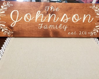 Last name wood sign, custom last name sign, wooden last name sign