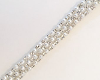 Crystal Rhinestone and pearl Trim by the Yard - Wholesale Bridal Trim - Rhinestone Applique - rhinestone banding [Style TR33]