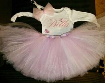 Pink princess birthday tutu