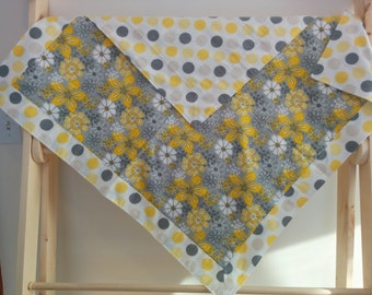 Grey and Yellow Baby Girl Receiving Blanket-Flowers and Polka Dots