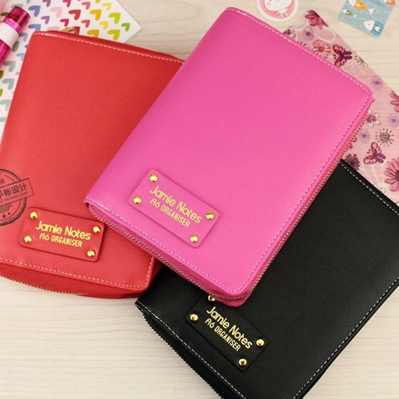 A6/personal Planner Binder With Zipper In Black Red By