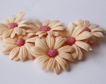 Set Of 6 Ceramic Handmade Clover Flowers 20mm For Jewelry