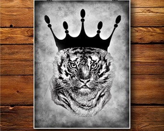 Tiger Print, Safari Poster, Animal Illustration, Cabin Art BW277