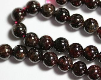 A Grade Garnet 8mm Round Beads - Full Strand