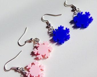Sale | Frozen | Snow Flake | Snow | Winter | Cute | Earrings | Laser Cut | Acrylic | Set | 2 Pack