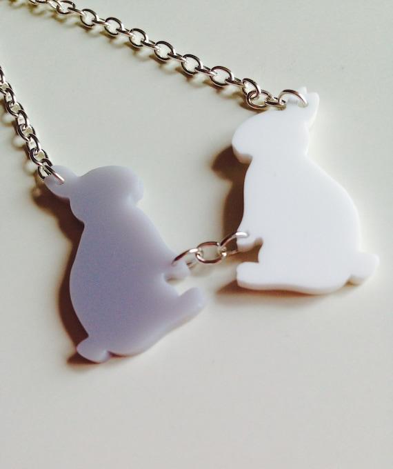 Rabbit   Bunny   Love   Cute   Woodland   Laser Cut   Acrylic   Necklace