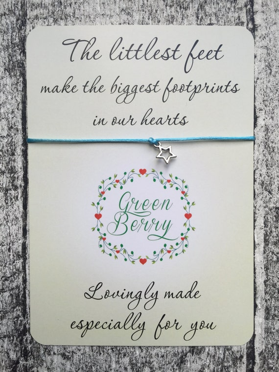 "Hollow Star charm String Bracelet on ""The Littlest Feet"" quote card stars thankyou wish bracelet madebygreenberry"