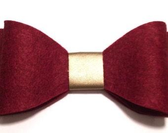 Large Oversized Burgundy Felt And Gold Leatherette Bow on Striped Headband