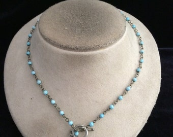 Vintage Blue Glass Beaded Toggle Necklace