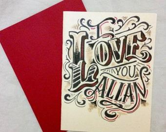 red custom hand drawn valentine card