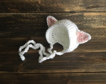 Newborn cat hat, newborn hat, baby hat, cat hat, cat lovers gift, baby shower gift, baby girl gift, newborn baby props, photo props