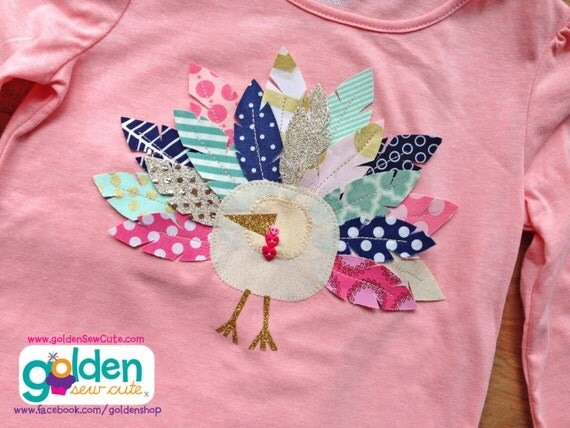 Thanksgiving Turkey Feather Tee, pink, gold, navy and aqua