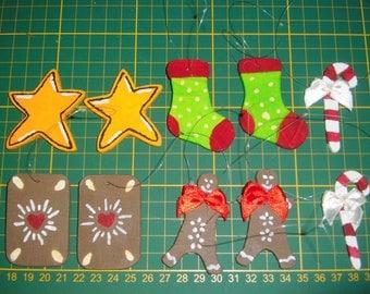 Christmas tree ornaments set of 10
