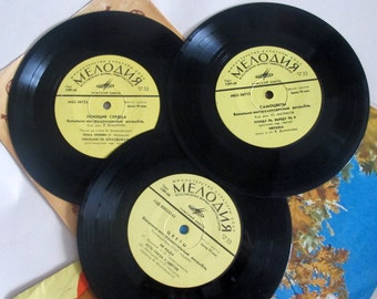 Pop Group 70-80s Vinyl Record, Set of 3 Soviet Vinyl Records, Russian Songs