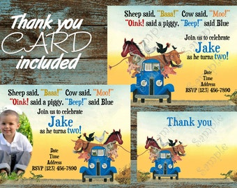 Little Blue Truck Invitation, Little Blue Truck Birthday, Little Blue Truck Party, Little Blue Truck Invite,  The Little Blue Truck party