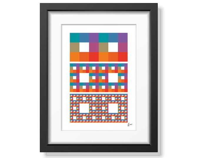 Fractal rectangles 01 [mathematical abstract art print, unframed] A4/A3 sizes