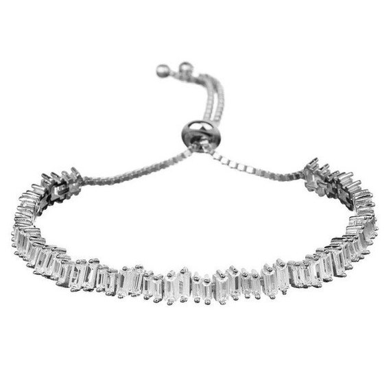 Baguette Bracelet Cubic Zirconia Adjustable Bracelet Rhinestone Bracelet Bridal Bracelet Gift For Her Diamond Bracelet Wedding Bracelet