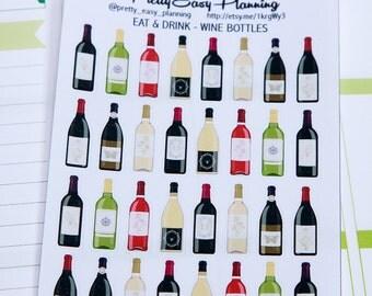 Wine Bottle stickers - Erin Condren - Happy Planner  - Filofax - planner stickers - alcohol stickers - planner decoration - wine stickers