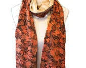 Floral Scarf, Brown Gold Scarf, Silky Scarf, Womens Silky Scarves, Fashion scarf, Boho scarf, Scarf Shawl, Women's Scarf , Gifts For Her