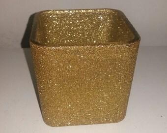 candle holder, gold centerpiece, glitter centerpiece, party decor, wedding decor, gold candleholder, gold vase, gold glitter vase