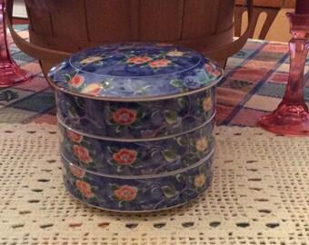 Jubako Bento Box, Andrea by Sadek, Asian Inspired Painted Jubako Box, Bento Box, Jubako Box, Stacking Box, Japan
