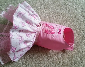 Dog Clothes, Small dog pink dress, Chihuahua Clothing, Yorkie Ballet tulle dress Dog Party dress Crystals