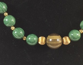 Vintage Faux Malachite Plastic Bead with Gold Accents Necklace 9638
