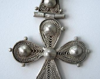 Ethiopian Gurage Antique .833 Silver Orthodox Coptic Christian Cross Pendant