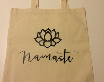 Tote / Bag - ' Namaste ' with a Lotus Flower