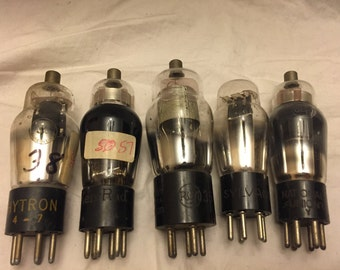 Lot of 5 Old radio tubes  Type 6D6, 84, 57, 24A, 38