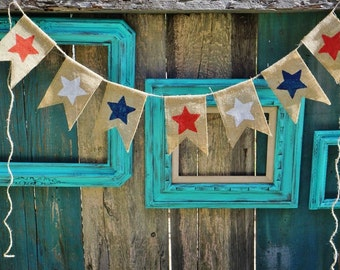 Patriotic Star 4th of July Burlap Banner Garland