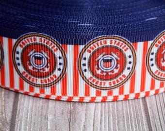 """U.S. Coast Guard ribbon - 1"""" grosgrain ribbon - 3 or 5 yard lot - Coastie crafts - DIY Coastie bow - Daddy Coast Guard - Mommy Coast Guard"""
