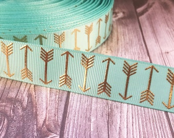 Arrow ribbon - Teal and gold ribbon - Boho arrows - Metalic foil ribbon - Coachella ribbon - Bohemian ribbon - Trendy ribbon - 3 or 5 yards