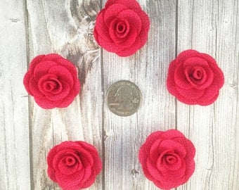 Hot pink burlap flowers - Set of 5 - Crafting roses - Craft supply flowers - 1 3/4 inch - DIY headband - Crafting supplies - Burlap roses