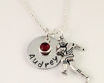 Personalized Football necklace, Name necklace, football fan jewelry, football mom necklace, college football, football cheer