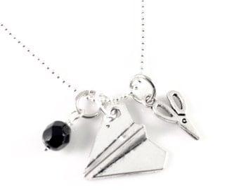 Rock Paper Scissors Necklace, charm necklace, Friendship Pendant, Best Friend Jewelry, Best Friend Gift, childhood games