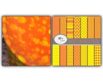 Digital Paper Orange Yellow. Dots Chevron Stripes Herringbone Stars 14 Digital papers and 2 backgrounds (Orange and Yellow)